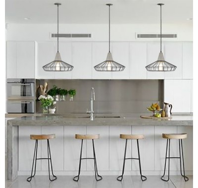 CONCRETE PENDANT LIGHT WIRE CAGE C