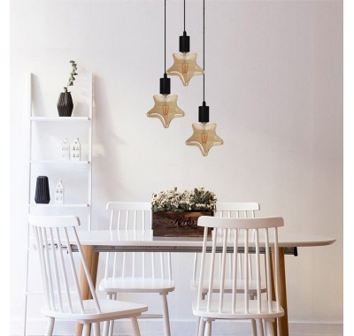NATURAL HEMP TRIANGLE FORM PENDANT LAMP
