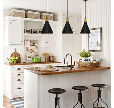 BLACK METAL SHADE WOOD TOP PENDANT LAMP A