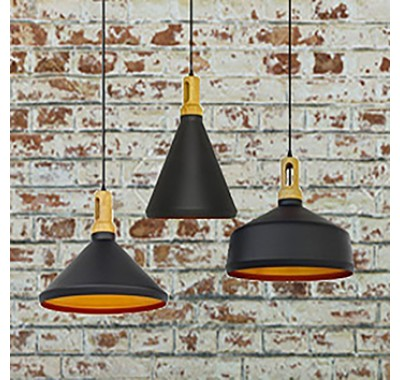 BLACK METAL SHADE WOOD TOP PENDANT LAMP SET