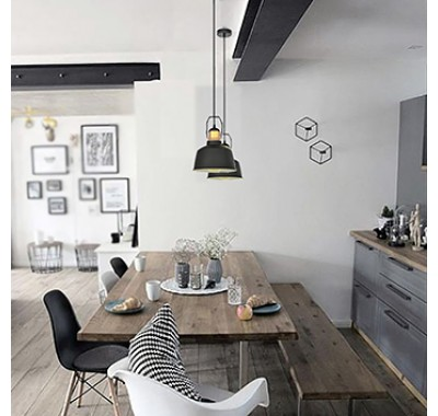 BLACK METAL SHADE MODERN INDUSTRIAL PENDANT LAMP