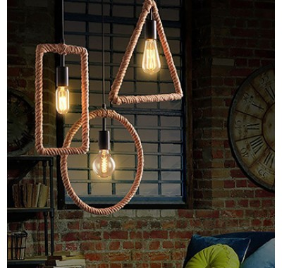 NATURAL HEMP SQUARE FORM PENDANT LAMP