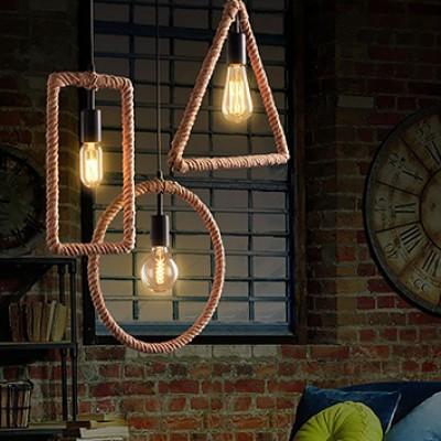 NATURAL HEMP SQUARE FORM PENDANT LAMP