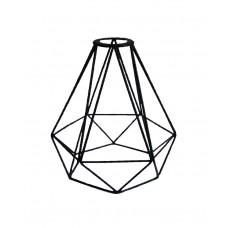 метален абажур - диамант - черен
