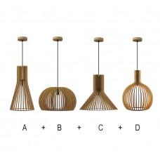 комплект 4 лампи -  дърво - шперплат