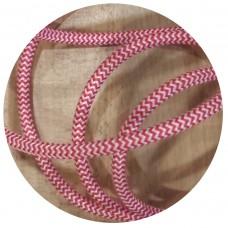 текстилен кабел - кръгло сечение - червено/ бяло райе