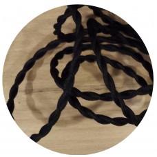 текстилен кабел - усукан - черен