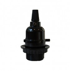 винтидж фасунга E27 с вграден ключ - бутон - черен цвят