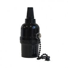 винтидж фасунга - права - E27 - верижка - черен цвят
