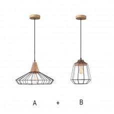 комплект 2 лампи -  дървен връх - метална решетка