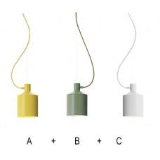 комплект 3 лампи с метален абажур - бял/ жълт/ зелен цвят