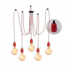 полилей Паяк - текстилен кабел - керамични фасунги - червен