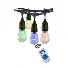 гирлянд от 15 бр LED крушки S14 - 4 цвята - 14.5 м - дистанционно управление