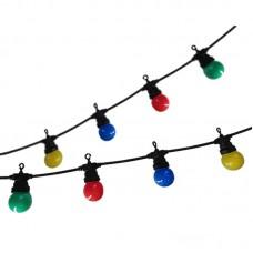 гирлянд от 10 бр цветни, термопластични крушки - 5 м